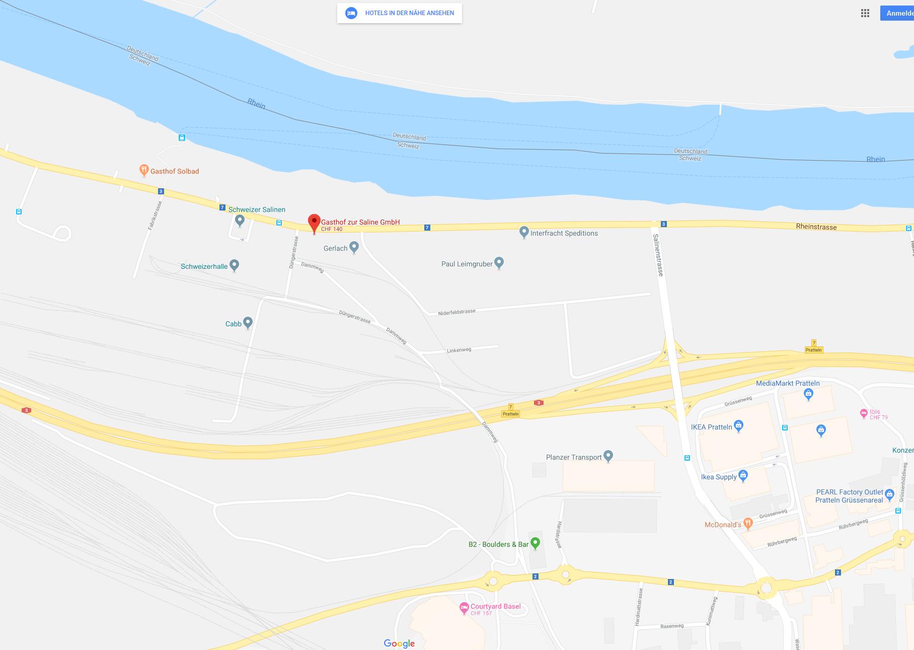 Karte Gasthof zur Saline Rheinstrasse 23 Pratteln Google Maps